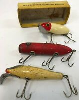 Vintage 3 pc South Bend Bass & Pike Oreno Fred Arbogast Jitterbug Fishing Lures