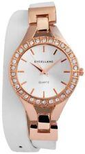 Excellanc Damenuhr mit Kunstleder Wickelarmband - d=35mm - Farbe rosegold / weiß