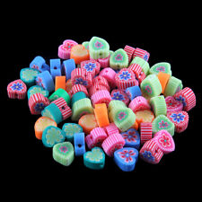 50X Mixed Heart Shape Flower Pattern Polymer Clay Loose Beads Charm DIY Gift