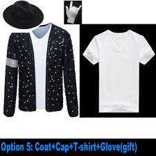 Mj Michael Jackson Coat Billie Jean Jacket & Glove Kids & Adult Cosplay Costume