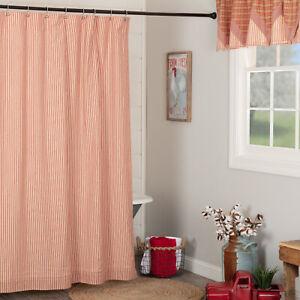 "VHC Brands Sawyer Mill Farmhouse Red & Tan Ticking Stripe Shower Curtain 72x72"""