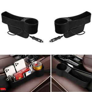 2pcs Black Car Seat Gap Slit Pocket Storage Organizer Accessories w/Dual USB