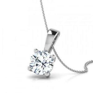 1.50 CT ROUND CUT D VS2 DIAMOND PENDANT WITH 14K WHITE GOLD NECKLACE ANNIVERSARY