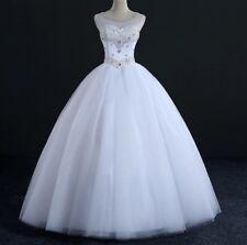 Reino Unido Blanco/Marfil Vestido para boda de cristal estrás nupcial Baile Vestido Talla 6-22