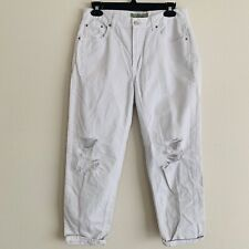 Top Shop Moto High Waist Hayden White Ripped Distressed Cropped Jeans Sz 28 B-A