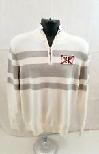 Tommy Hilfiger Half Zip Sweater Mens Sz Medium White/Gray 100% Cotton