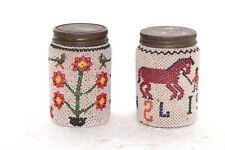2 Pc Glass Bottle Vintage Antique Handmade Decorated Decor Collectible N-42