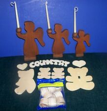 Wood Craft Pcs.- Ready to Paint Angels-Napkin Rings-Bears & Hearts-Country Sign