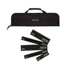 5 Pocket Chef Knife Roll Bag Black with 5pc knife edge guards Black Ergo Chef