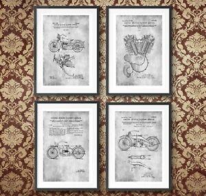 Harley Davidson Poster Patent Print Motorbike/ Motorcycle Art Engine Blueprints