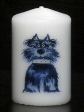 Scruff the dog hand-decorated candle