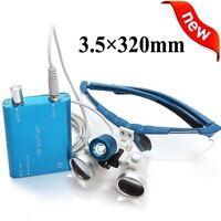 Blue Dental Loupes 3.5X 320mm Surgical Medical Binocular + LED Head Light Lamp