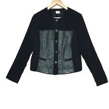 Cabi 3036 Womens Size Medium Black Media Jacket Long Sleeve Blazer Snap Closure