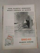 Vintage 1953 Original Magazine Ad Band-Aid Bandage Won't Loosen in Water Beach