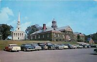 Ellsworth ME NICE 1956 Chevy @ First Congregational Church & City Hall Postcard