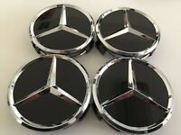SET OF 4 Wheel Center Hub Caps Gloss Black CHROME 75MM / 3inch FITS Mercedes