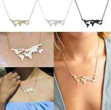 World Map Pendant Necklace Charm Collar Women Fashion Travel Abstract Jewelry CN