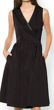 LAURA CLEMENT BLACK WRAPOVER POPLIN DRESS SIZE 10 UK (EU 38)