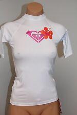 New Roxy Swimsuit Bikini Cover Up Rash Guard Size 4 Island Fever White UPF 50+