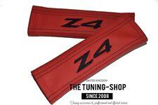 """2x Pastiglie Coperture cinture in pelle rossa """"Z4"""" Nero Ricamo Per BMW"""