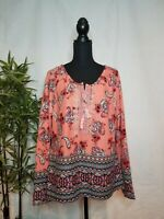 Vintage America Womens Top Coral Size Large XL Lace-Up Peasant Blouse