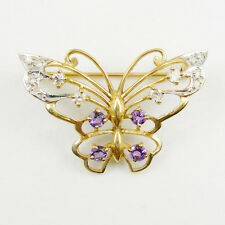 Butterfly Brooches Diamonds Amethyst Gemstone Genuine 750 18k 18k Yellow Gold