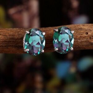 Alexandrite Stud Earring-Women Stud Earrings-Colors Changing Gemstone Earrings