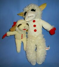 "Plush Puppet Lamp Chop 16"" full body-Shari Lewis Aurora;Lamb Chop toy 9""-LOT-2"