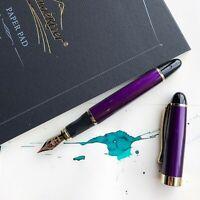 JINHAO X450 Royal Purple 18k Gold Plated Trim Fountain Pen Fine Nib