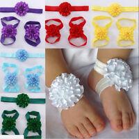 Newborn Baby Girl Kids Infant Headband Foot Flower Elastic Hair Band J CJ