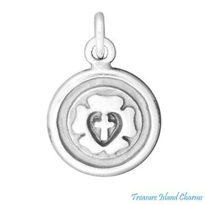 Lutheran Rose Luther Seal Cross 2-Sided 925 Solid Sterling Silver Charm Pendant