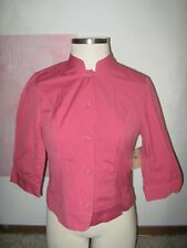 COLDWATER CREEK Rose Pink Button 2 Pocket 3/4 Sleeve Cotton Blazer 14P NEW $50