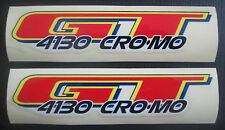 Set of 2 GT 4130 CRO-MO DECAL STICKERS/BMX/dyno/Racing/Red/Yellow/Blue/Black