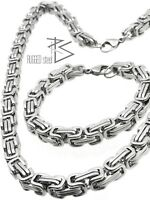 Herren Edelstahl Kette & Armband Set Königskette Königsarmband Byzantiner