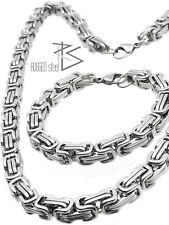 acae2ee57323 Hombre Acero Inoxidable Set Collar   Pulsera Real Bizantino Collar   Pulsera