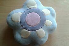 Flower shaped fleece Cushion, Pale blue fleece and velvet detail