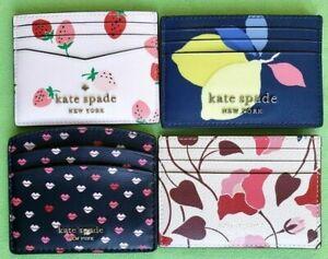 KATE SPADE CARD HOLDER CASE:NWT WILD STRAWBERRY,LEMON ZEST,NOUVEAU BLOOM, LIPS