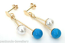 9ct Gold Pearl and Turquoise ball Drop earrings Made in UK Gift Boxed