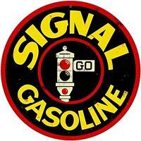 Signal Gasoline round metal sign (pst 14 rnd)