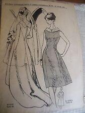 1391 (978)ANCIEN PATRON  F D'AUJOURD'HUI ROBE DE MARIEE COURT/LONG   T 40 1964