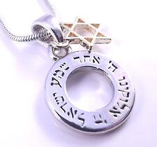 Estrella De David Magen Shema Israel Collar Colgante Kabbalah plata oro Hebreo