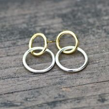 Double Circle Stud Earrings Sterling Silver 925 and Gold , Two Tone , Canada