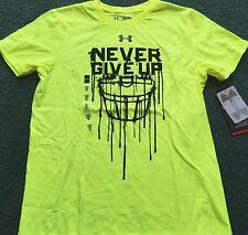 NWT Under Armour XL Boys Yellow/Black NEVER GIVE UP Football Heat Gear Shirt YXL