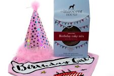 More details for pink/blue happy birthday bandana and cake pet dog and puppy bundle