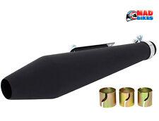 Universal Matt Black Cone Style Motorcycle Exhaust Silencer, Custom, Cafe Racer