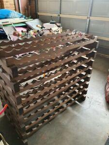 wine rack used, wood, Jarrah in colour, 96 bottle capacity