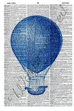 ORIGINAL Blue Hotair Balloon Vintage Dictionary Art Print Illustration 560D