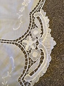 Large 82 inch round white lace embroidered tablecloth
