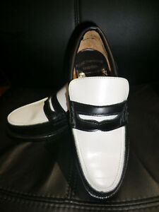 VLV ROCKABILLY NEW LEATHER LOAFER BLACK & WHITE SHOES JIVE