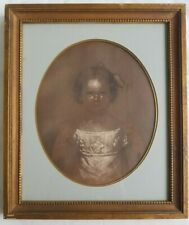 19th c. American School Pastel Portrait Painting of a Young Girl